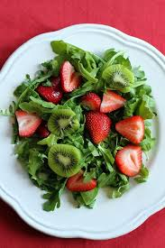 Arugula Salad with Kiwi, Strawberries